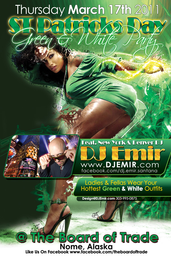 st patrick s day green and white party flyer design ezinearticles
